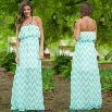 Sexy Women's Strapless Wavy Print Casual Party Long Maxi Chiffon Dress