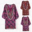 "Vintage Style Women Chiffon V-Neck 3""4 Sleeve Print Casual Loose Mini Shift Dress"