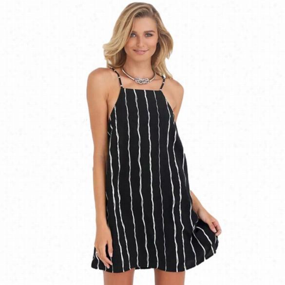 Stylish Ladies Women Sexy Adjustable Spaghetti Srap Tsripe Dress