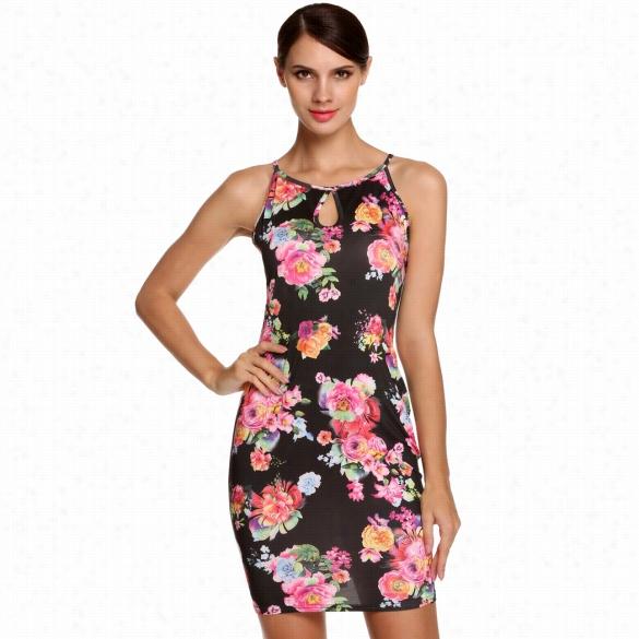 Angvns Fashion Stylish Ladies Women O-neck Sleeveless Keyhole Floral Straps Dress