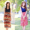 New Fashion Women's Sleeveless O-neck High Waist Printed Knee-length Casual Dress