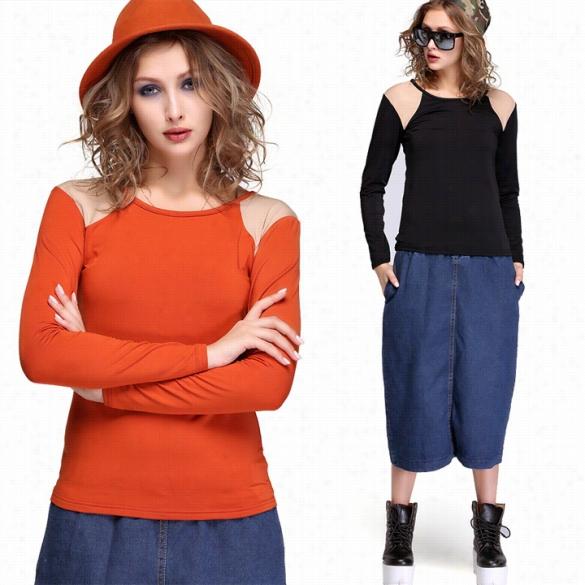 Women's Long Skeeve Bototming Shirt O Neck T- Shirtt Op Blouuse Casual Tee
