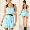 New Stylish Lady Women's Fashion Sleeveless Solid Pleated A-line V-Neck Sexy Dress