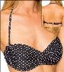 Swim Systems Mod Dot Onyx Slider Clasp Back Twist Front Bandeau Bikini Top with Soft Cups Style H623