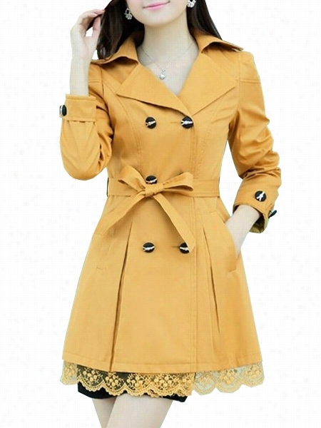 6 Color Lapel Breasted Lacee Patchwork Ttrench-coats