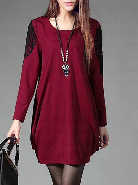Awesome Round Neck Embroidery Patchwo Rk Shift-ddress