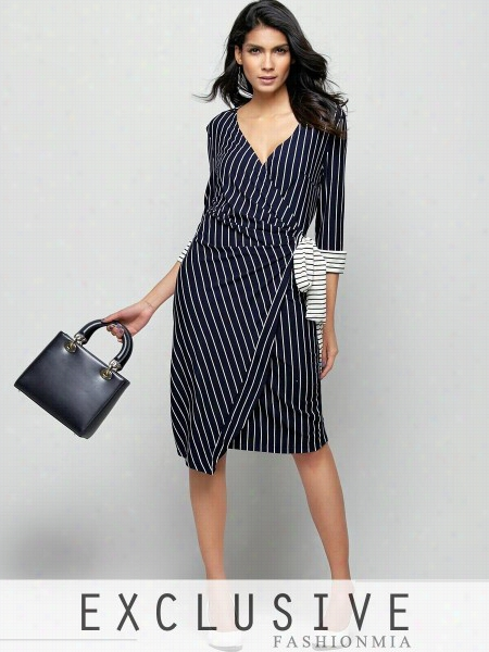 Charming Bowknot Striped V Neck Bodycon-dress