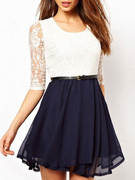 Chic Lace Patchwork Skater-ress
