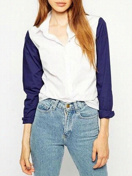 Color Block Concise Small Lapel Blouses