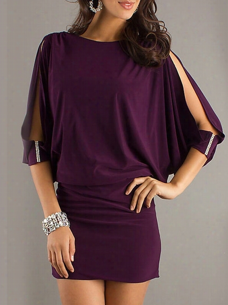 Concise Boat Neeck Loose Fitting Bodycon-dress