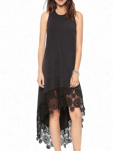 Lace Asymmetriical  Hems Emarkale Shift Dress