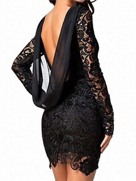 Lace Backless Round Neck Cocktail Dress
