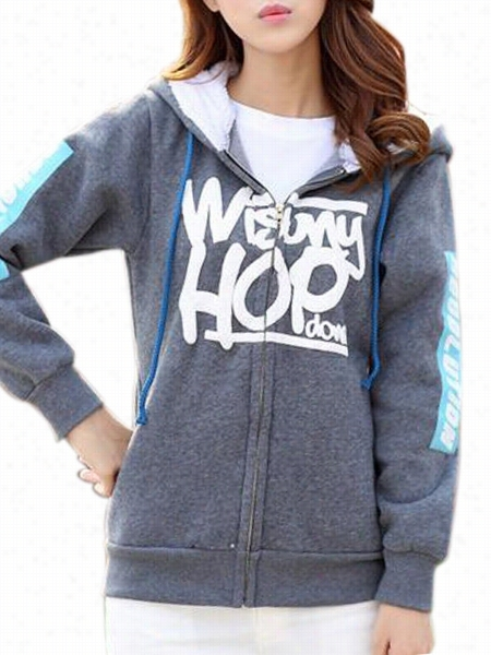 Letter With Pockets Upon Zips Chic Hooded Hooeies