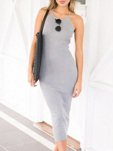 Plain Cross Straps Round Neck Maxi Dress
