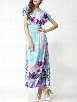 Bohemian Floral Printed Round Neck Maxi Dress
