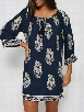 Floral Printed European Round Neck Loose Fitting Color Block Patchwork Shift-dress