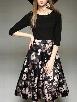 Floral Printed Patchwork &brilliant Color Block Skater-dress