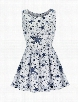 Stars Print Knot Modern O-neck Skater Dress