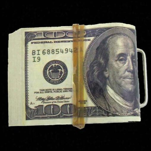 $10,00 Wad Of Cash $100 Bbill Money Belt Bcukle