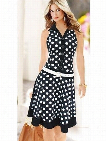 Enticing V Neck Printed Poolka Dot Skater-dress