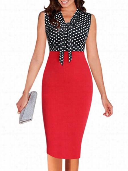 Polka Doy Bowknot Delightfull Bodycon Dress