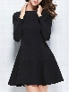 Black Plain Concise Crew Neck Skater Dress