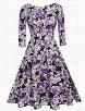 Floral Printed Vintage Sparkling Round Neckskater-dress