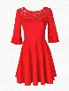 Red Hollow Out Lace Glamorous Round Neck Skater Dress