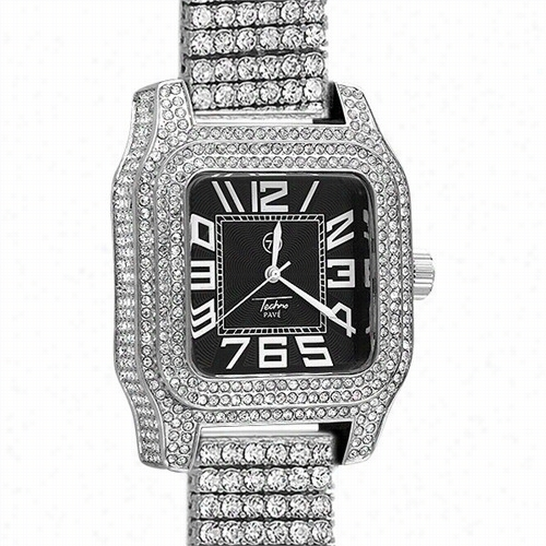 Gold Bling Bling Watch Custom Square Block 6 Row Band