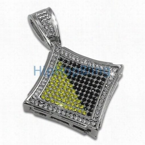 Kite Black Abd Yellow Exotic Rhodium Bling Bling Pendant
