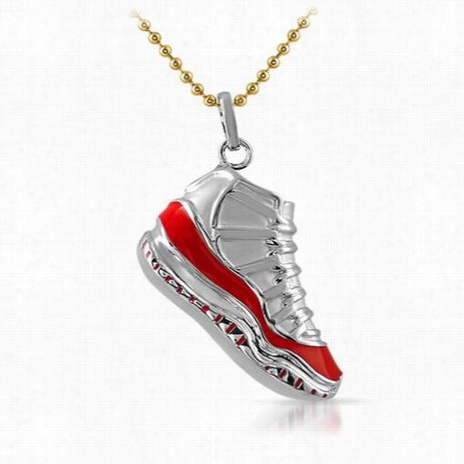 Sneaker Shoe Silv Er Pedant Red Trim