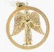 Angel in Circle 10K Yellow Gold Diamond Pendant