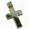 Gold Diagonal Black White Bling Bling Cross