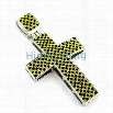 Panther Black and Yellow Rhodium Hip Hop Cross Pendant