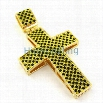 Panther Canary & Black Checkered Gold Bling Bling Cross