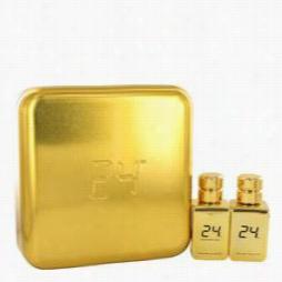 24 Gold Oud Edition Donation Set By Scentstory Git Set For Men Includes 24 Gold 1.7 Oz Eau De Toilette Spray + 4 Gold Oud 1. 7o2e Au De Toilette Spray