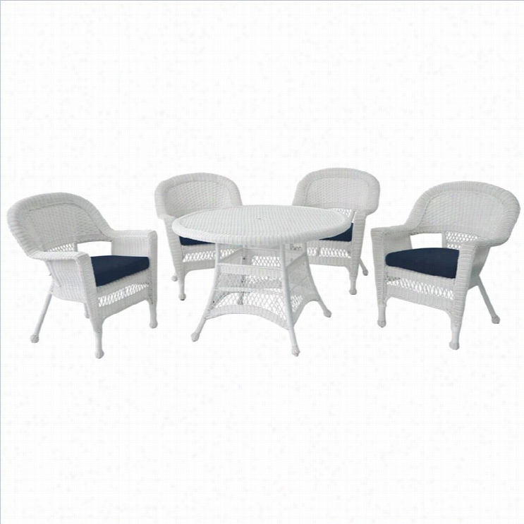 Jeco 5 Piece Wicker Patio Dining Set In
