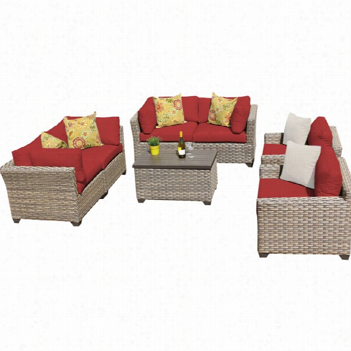 Tkc Monterey 7  Piece Outdoor Wicker Sofa Concrete In Teerracotta