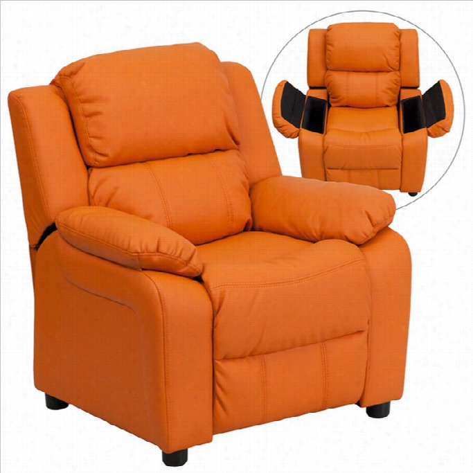 Flash Furniture Heavily Padded Kids Recliner In Orange