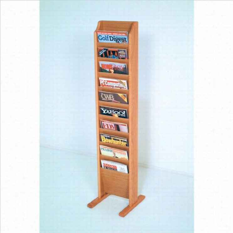 Wooden Mallet Free Stading 10 Pocket Magazine Rack In Light Oak