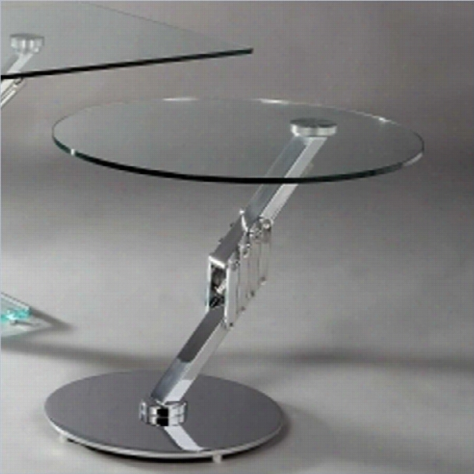 Chintaly Meal Prdestal Motion Glass Top Lamp Table In Chrome