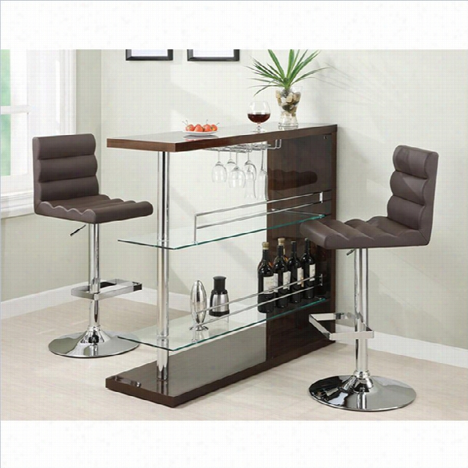 Coaster3  Piece Bar Table Set In Cappuccino