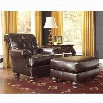 Ashley Weslynn Place Faux Leather Chair with Ottoman in Burgundy