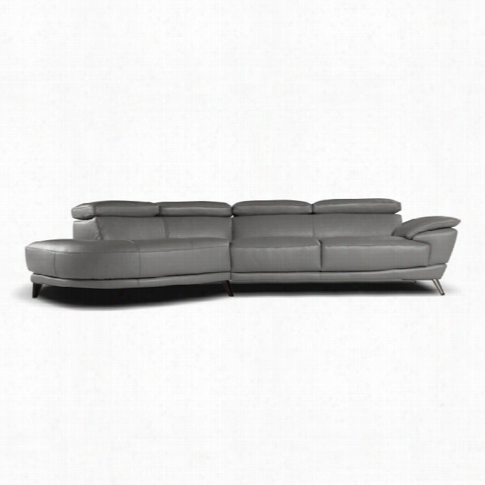 J M Furniture Nicoletti Marisol Leather Left Sectional In Gery
