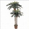 Nearly Natural 6' and 4' Sago Palm Double Potted Silk Tree in Green