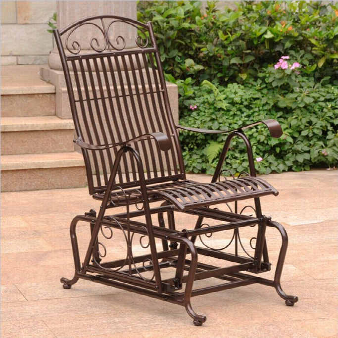 International Caravan Mandalay Single Patio Glider In Bronze