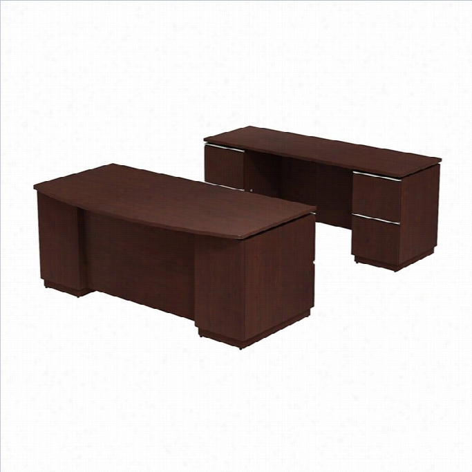 Bush Bbf Milano2 72 Bowfront Desk With Credenza Set In Harvest Cherry