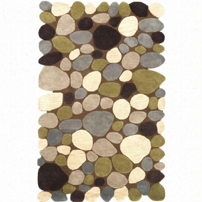 Nuolom  3' 6 X 5' 6 Hand Tufted Pebbles Rug In Brown
