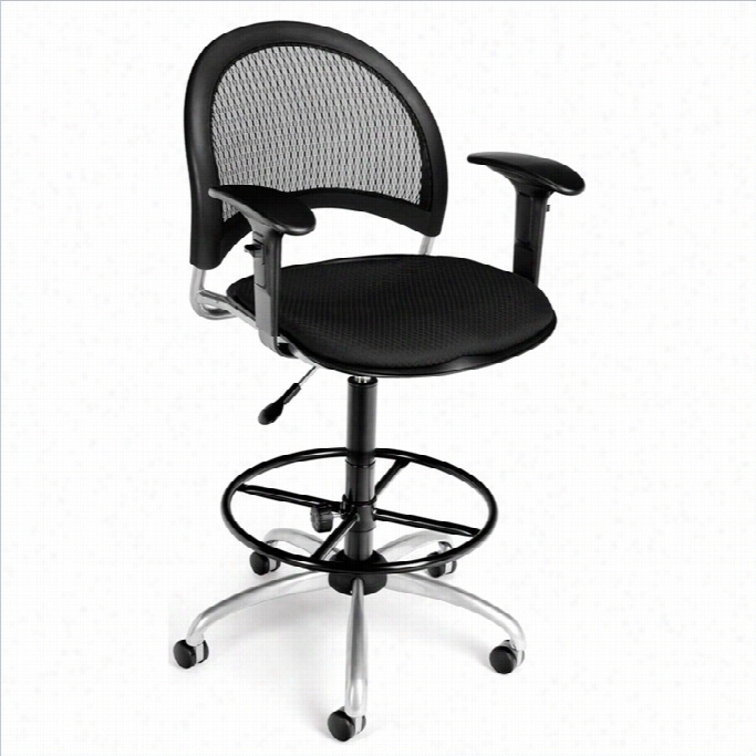 Ofm Moon Swivel Draf Ting Chair With Arms And Drafting Kit In Black