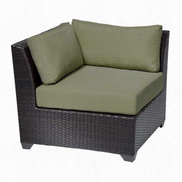 Tkc Barbados Outdoor Wicker Corner Chair In Cilantro